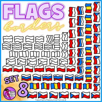 Flag Borders Clipart Doodle Style (Russia, Poland, Romania, Czech Republic)