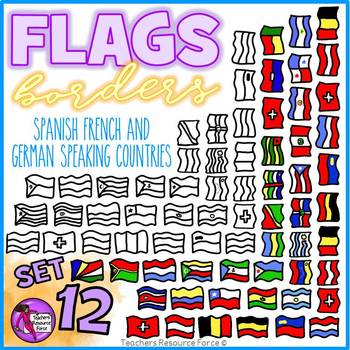 Flag Borders Clipart Doodle Style (Spanish, French, German speaking countries)