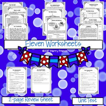 United States Government Social Studies Unit Worksheets & Test