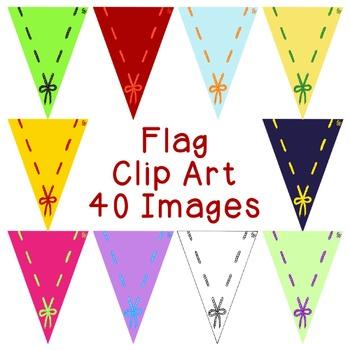Flag Clip Art Bundle PNG JPG Blackline Commercial or Personal Gingham Stripe Dot