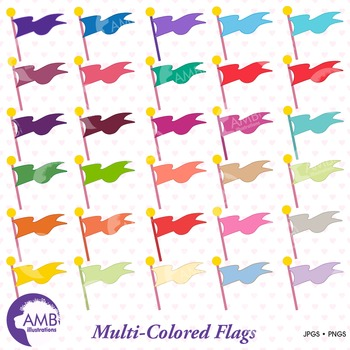 Flag Clipart, Multicolored Flags Clipart,  AMB-107