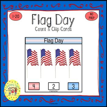 Flag Day Count and Clip Holiday Task Cards