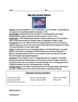 Flag Day - America - Review Article Questions Vocabulary Activities