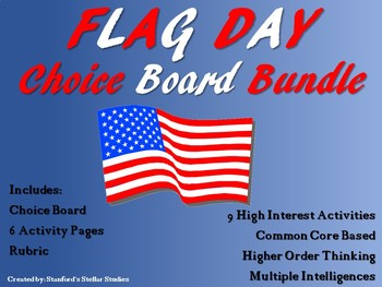 Flag Day Choice Board Menu Bundle with 6 Activity Pages Ru