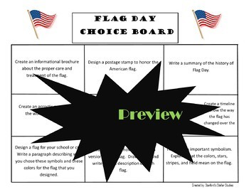 Flag Day Choice Board Project Activities Menu with Rubric Patriotic Tic Tac Toe