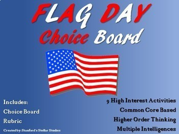 Flag Day Choice Board Project Activities Menu with Rubric