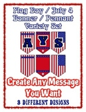 Flag Day July 4th Independence Celebration Banner Chevron