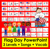 Flag Day PowerPoint: 3 Levels + Illustrated Vocabulary & Patriotic Poems