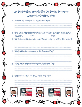 Flag Day Reading Comprehension Activity