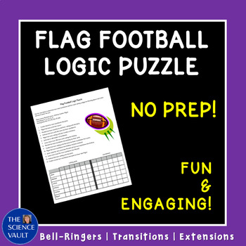Flag Football Logic Puzzle, Critical Thinking Puzzle, Great Bellringer!