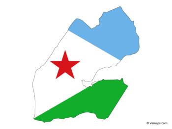 Flag Map of Djibouti