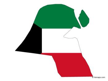 Flag Map of Kuwait