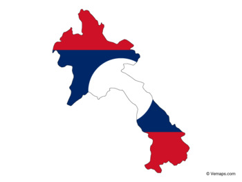 Flag Map of Laos
