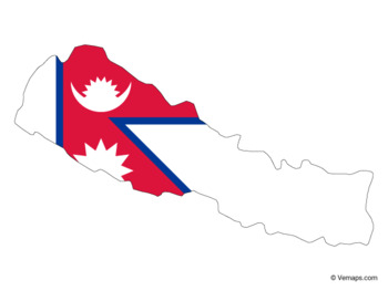 Flag Map of Nepal