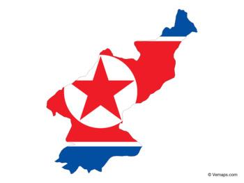 Flag Map of North Korea