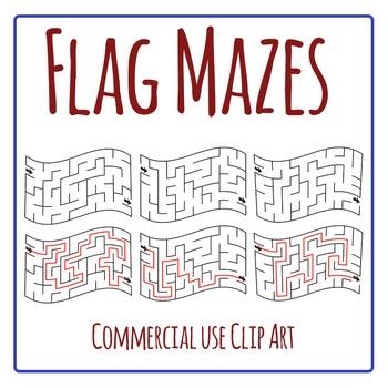 Flag Mazes Clip Art Set for Commercial Use