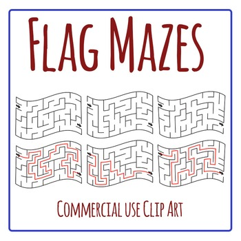 Flag Mazes Clip Art Set for Commercial Use