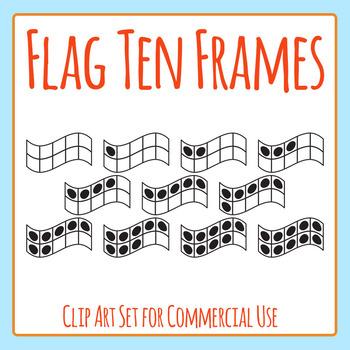 Flag Shaped 10 Frames / Ten Frames Clip Art Set for Commercial Use