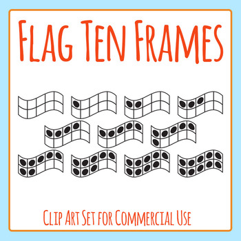 Flag Shaped 10 Frames / Ten Frames Clip Art Set for Commercial Use