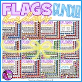 Flags Around the World Borders Clipart Doodle Style - Mega Bundle!