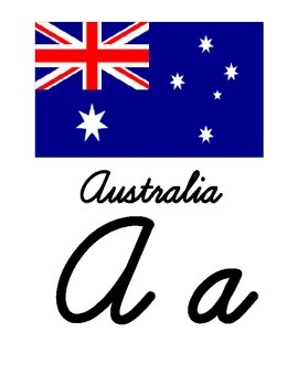 Flags Around the World Themed Cursive Alphabet
