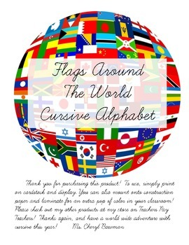 Flags Around the World Themed Cursive Alphabet