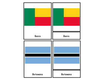 Flags of Africa Three Part Cards