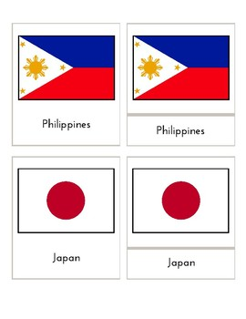 Flags of Asia (3 Part Montessori Cards)
