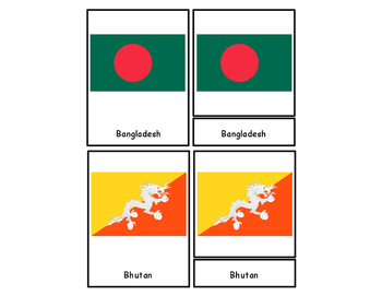 Flags of Asia Three Part Cards