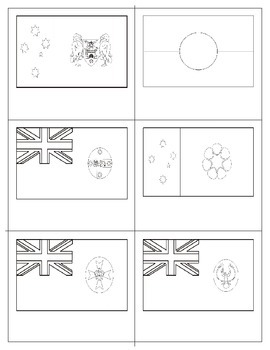 Flags of Commonwealth of Australia States and Territories:  Three Part Cards