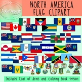 Flags of North America Clipart HUGE Set - Color and Blackline 98 piece set