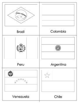 Flags of South America: Three Part Cards and Blackline Masters