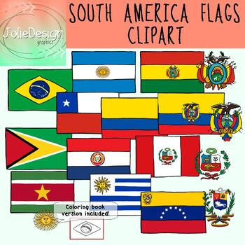 Flags of South America Clipart - Color and Blackline 18 piece set