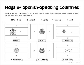 flags of spanish speaking countries bulletin board border by spanish made easy. Black Bedroom Furniture Sets. Home Design Ideas