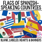 Spanish Speaking Countries Flags Classroom Décor Labeled Banners Hearts
