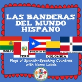 Flags of Spanish-Speaking Countries Classroom Decor Bulletin Board Set (Spanish)