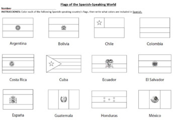 Flags of the Spanish-Speaking World Coloring