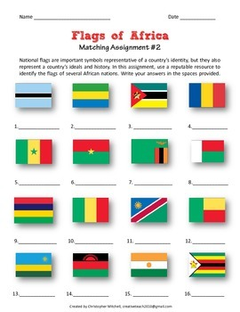 Flags of the World Matching assignment and substitute lesson