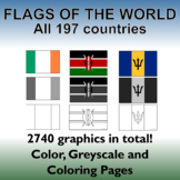 Flags of the World: 2539 World Flags - All 197 countries -  Incl. Coloring Pages