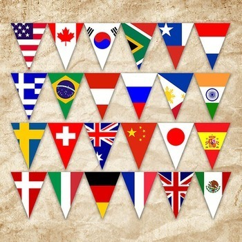 Flags of the World Banner - Printable - Includes 56 different Flags in 3 sizes