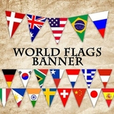 Flags of the World Banner - Printable - Includes 64 different Flags in 3 sizes