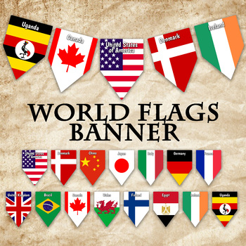 photograph regarding Flags of the World Printable Pdf called Global Flags Banner - Printable - Consists of 64 alternate Flags with names