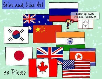 Flags of the World Clipart - Color and Blackline 30 piece set