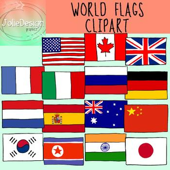 Flags of the World Clipart - Color and Blackline 20 piece set