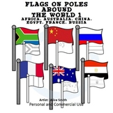 Flags on Poles Around the World Set 1 Color Clip Art A. Hunt exclusive