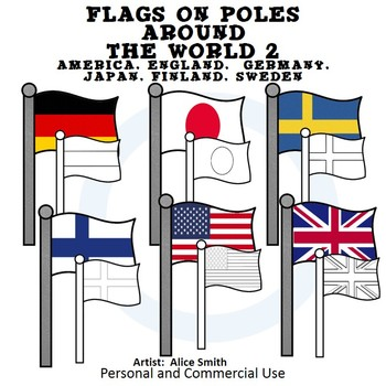 Flags on Poles Around the World Set 2 Color Clip Art A. Hunt Exc