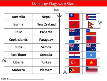 Flags with Stars Wordsearch & Matchup Puzzle Sheet Keywords Country Geography