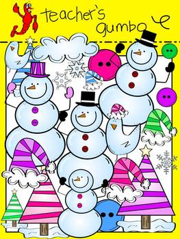 Flaky Friends Snowman Clipart