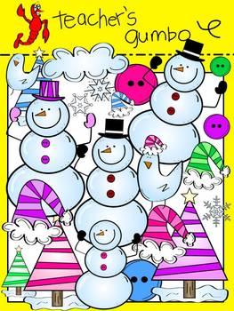 Flaky Friends Snowman Clipart