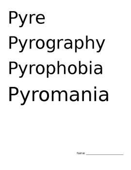 Flam, Pyro Vocab Words and Quiz
